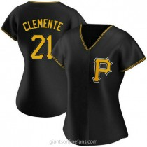 Womens Roberto Clemente Pittsburgh Pirates #21 Authentic Black Alternate A592 Jerseys