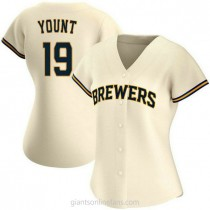 Womens Robin Yount Milwaukee Brewers #19 Authentic Cream Home A592 Jerseys