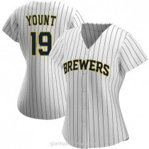 Womens Robin Yount Milwaukee Brewers #19 Replica White Navy Alternate A592 Jersey