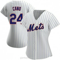Womens Robinson Cano New York Mets #24 Authentic White Home A592 Jersey