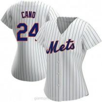 Womens Robinson Cano New York Mets #24 Replica White Home A592 Jersey