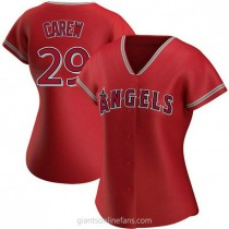 Womens Rod Carew Los Angeles Angels Of Anaheim #29 Authentic Red Alternate A592 Jersey
