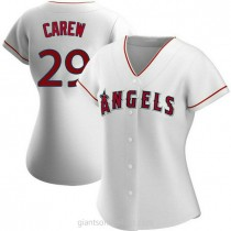 Womens Rod Carew Los Angeles Angels Of Anaheim #29 Authentic White Home A592 Jersey