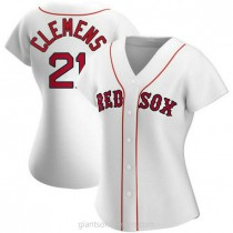Womens Roger Clemens Boston Red Sox #21 Authentic White Home A592 Jerseys