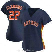 Womens Roger Clemens Houston Astros #22 Authentic Navy Alternate A592 Jerseys