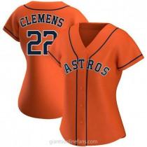 Womens Roger Clemens Houston Astros #22 Authentic Orange Alternate A592 Jerseys