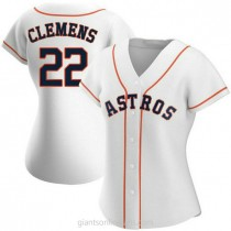 Womens Roger Clemens Houston Astros #22 Authentic White Home A592 Jersey