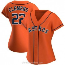 Womens Roger Clemens Houston Astros #22 Replica Orange Alternate A592 Jersey