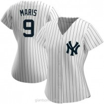 Womens Roger Maris New York Yankees #9 Authentic White Home Name A592 Jersey