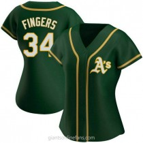 Womens Rollie Fingers Oakland Athletics #34 Authentic Green Alternate A592 Jersey