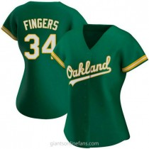 Womens Rollie Fingers Oakland Athletics #34 Authentic Green Kelly Alternate A592 Jersey