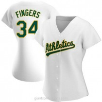 Womens Rollie Fingers Oakland Athletics #34 Replica White Home A592 Jersey