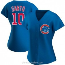 Womens Ron Santo Chicago Cubs #10 Authentic Royal Alternate A592 Jersey