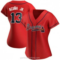 Womens Ronald Acuna Atlanta Braves #13 Authentic Red Alternate A592 Jerseys