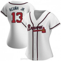 Womens Ronald Acuna Atlanta Braves #13 Replica White Home A592 Jerseys