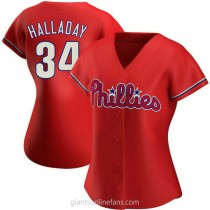Womens Roy Halladay Philadelphia Phillies #34 Authentic Red Alternate A592 Jersey