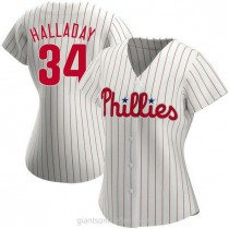 Womens Roy Halladay Philadelphia Phillies #34 Authentic White Home A592 Jersey