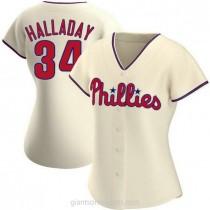 Womens Roy Halladay Philadelphia Phillies #34 Replica Cream Alternate A592 Jerseys