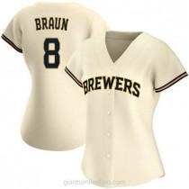 Womens Ryan Braun Milwaukee Brewers #8 Replica Cream Home A592 Jerseys