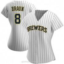 Womens Ryan Braun Milwaukee Brewers Authentic White Navy Alternate A592 Jersey