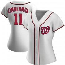 Womens Ryan Zimmerman Washington Nationals #11 Authentic White Home A592 Jersey