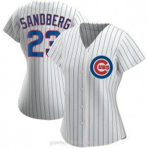 Womens Ryne Sandberg Chicago Cubs #23 Authentic White Home A592 Jersey