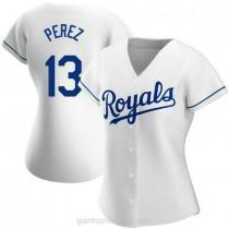 Womens Salvador Perez Kansas City Royals #13 Authentic White Home A592 Jersey