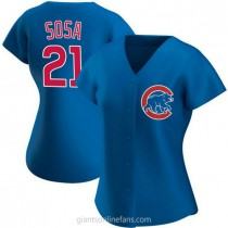 Womens Sammy Sosa Chicago Cubs #21 Authentic Royal Alternate A592 Jersey