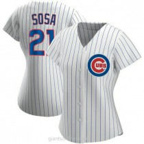 Womens Sammy Sosa Chicago Cubs #21 Authentic White Home A592 Jersey