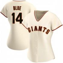 Womens San Francisco Giants #14 Vida Blue Authentic Blue Cream Home Jersey