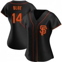 Womens San Francisco Giants #14 Vida Blue Replica Blue Black Alternate Jersey