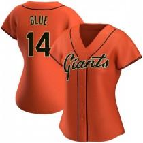 Womens San Francisco Giants #14 Vida Blue Replica Orange Alternate Jersey