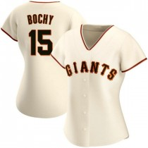 Womens San Francisco Giants #15 Bruce Bochy Replica Cream Home Jersey