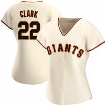 Womens San Francisco Giants #22 Will Clark Replica Cream Home Jersey