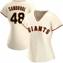 Womens San Francisco Giants #48 Pablo Sandoval Replica Cream Home Jersey