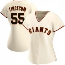 Womens San Francisco Giants #55 Tim Lincecum Authentic Cream Home Jersey