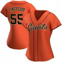 Womens San Francisco Giants #55 Tim Lincecum Replica Orange Alternate Jersey
