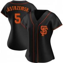 Womens San Francisco Giants #5 Mike Yastrzemski Replica Black Alternate Jersey