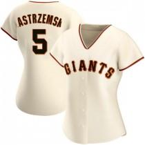 Womens San Francisco Giants #5 Mike Yastrzemski Replica Cream Home Jersey