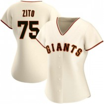 Womens San Francisco Giants #75 Barry Zito Authentic Cream Home Jersey