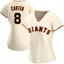 Womens San Francisco Giants #8 Gary Carter Authentic Cream Home Jersey
