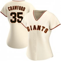 Womens San Francisco Giants Brandon Crawford Replica Cream Home Jersey