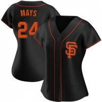 Womens San Francisco Giants Willie Mays Replica Black Alternate Jersey