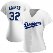 Womens Sandy Koufax Los Angeles Dodgers #32 Authentic White Home A592 Jerseys