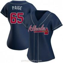 Womens Satchel Paige Atlanta Braves #65 Authentic Navy Alternate A592 Jersey