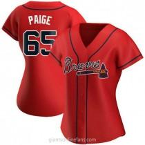 Womens Satchel Paige Atlanta Braves #65 Authentic Red Alternate A592 Jerseys