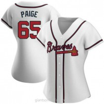 Womens Satchel Paige Atlanta Braves #65 Authentic White Home A592 Jersey