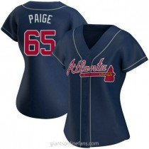 Womens Satchel Paige Atlanta Braves Authentic Navy Alternate A592 Jersey