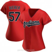 Womens Shane Bieber Cleveland Indians #57 Authentic Red Alternate A592 Jerseys