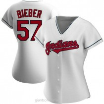 Womens Shane Bieber Cleveland Indians #57 Authentic White Home A592 Jerseys